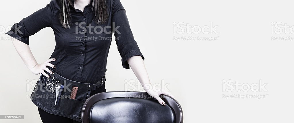 Female hairstylist with Copy Space stock photo