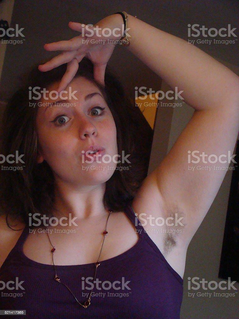 Female hairy armpit stock photo