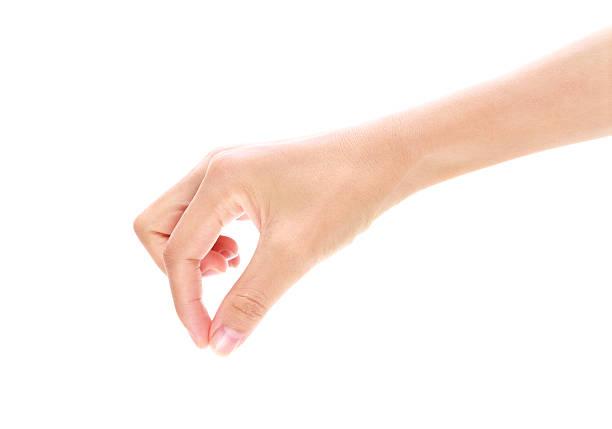 Hand hält virtuelle Karte Geste auf weißem Hintergrund – Foto
