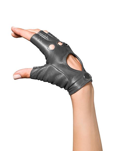 female hand fingerless leather glove stock photo