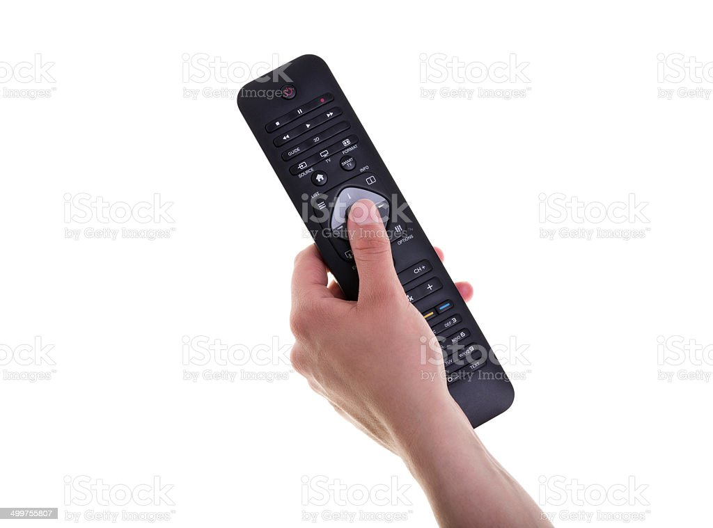Female Hand Holding a Remote Controller on White Background stock photo
