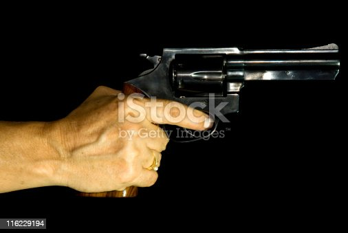 istock Female Hand Holding a Revolver 116229194