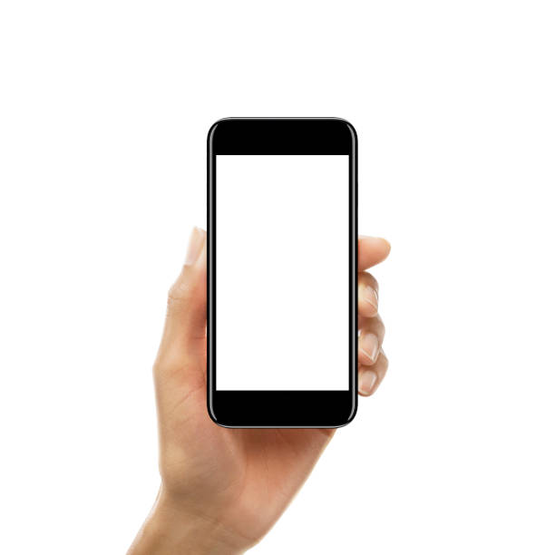 Female hand holding a smartphone with blank screen Female hand holding a smartphone with blank screen isolated on white background taken on mobile device stock pictures, royalty-free photos & images