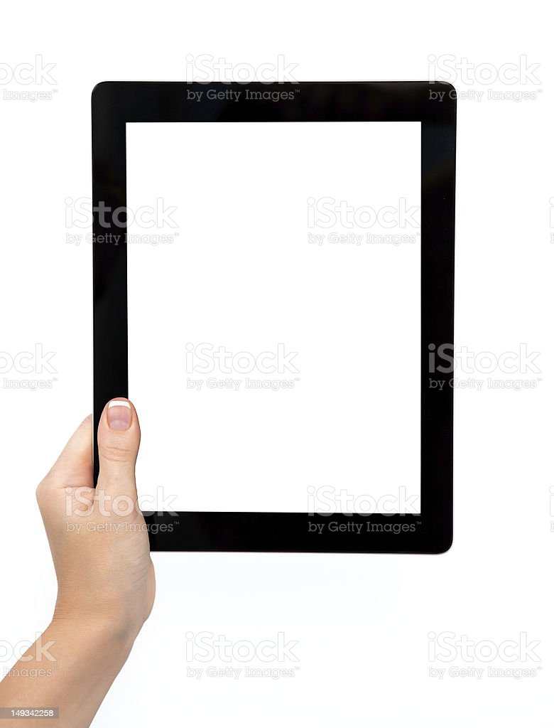 female hand holding a tablet royalty-free stock photo