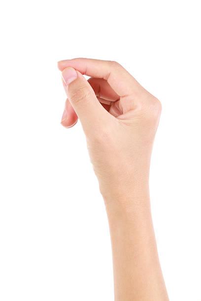バーチャルカードを持つ手ぶりに白背景 - 握る ストックフォトと画像