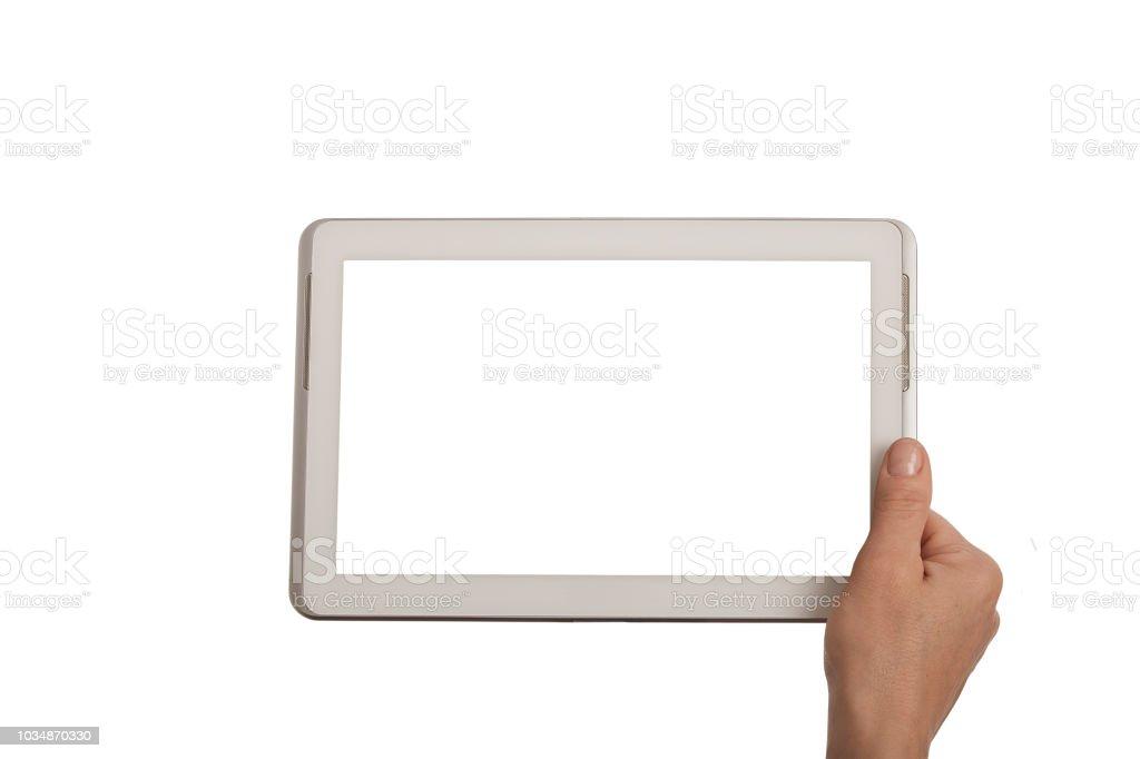 female hand holding a white tablet frame on white background