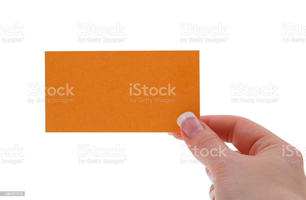 female hand holding blank business card royalty-free stock photo