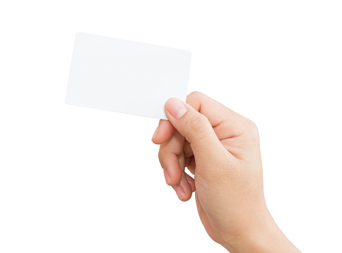 Female Hand Holding Blank Card Isolated Clipping Path ...