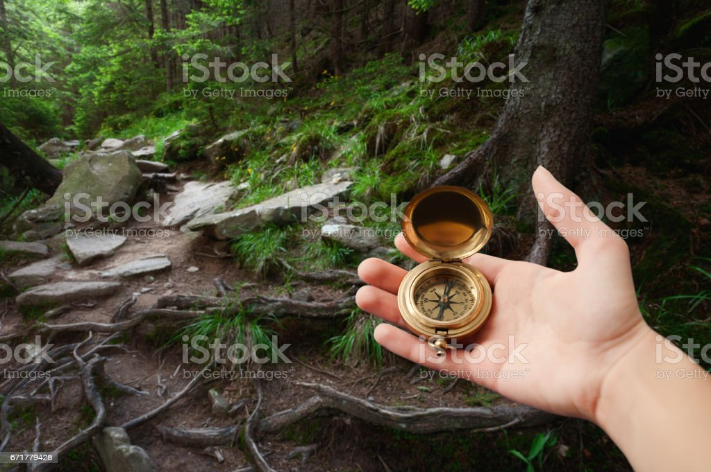 Female hand holding compass stock photo