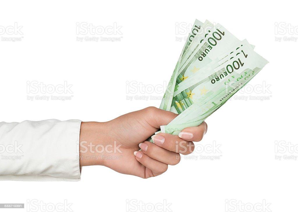 Weibliche hand hält euro-Scheine – Foto
