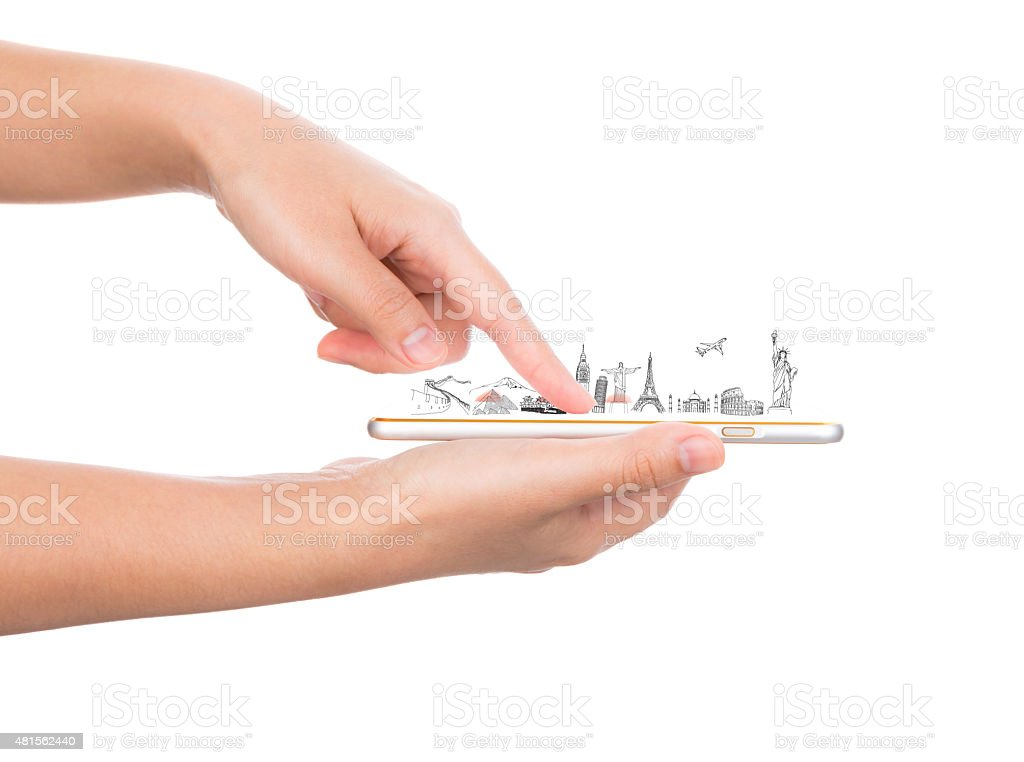 Female hand holding gold mobile phone smartphone  travel around stock photo
