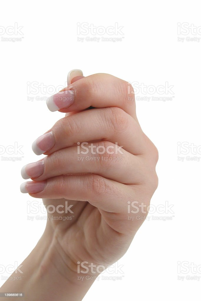 female hand holding invisible object royalty-free stock photo