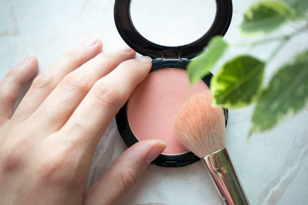 Female hand holding opened blush powder and brush in interior Female hand holding opened blush powder and brush in interior. Top view, Close-up, make-up concept blusher make up stock pictures, royalty-free photos & images