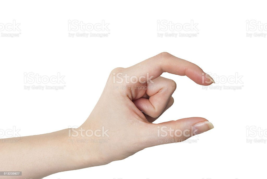 Female hand holding or measuring gesture isolated stock photo