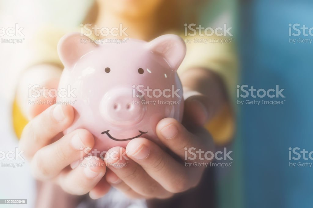 Female hand holding piggy bank. Save money and financial investment royalty-free stock photo