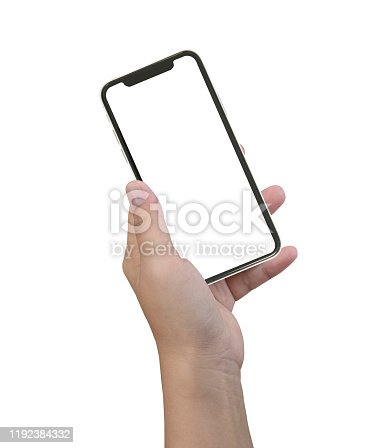 istock Female hand holding white cellphone with white screen at isolated background. 1192384332