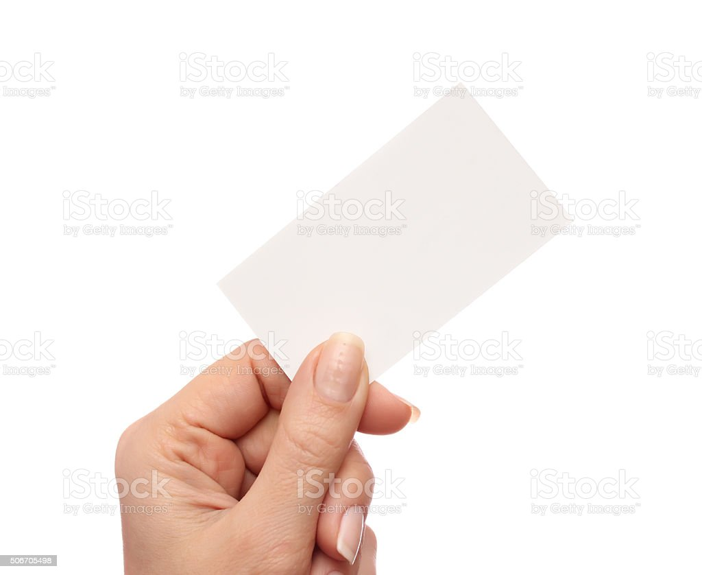 Technology Management Image: Female Hand Holds Business Card On White Background Stock