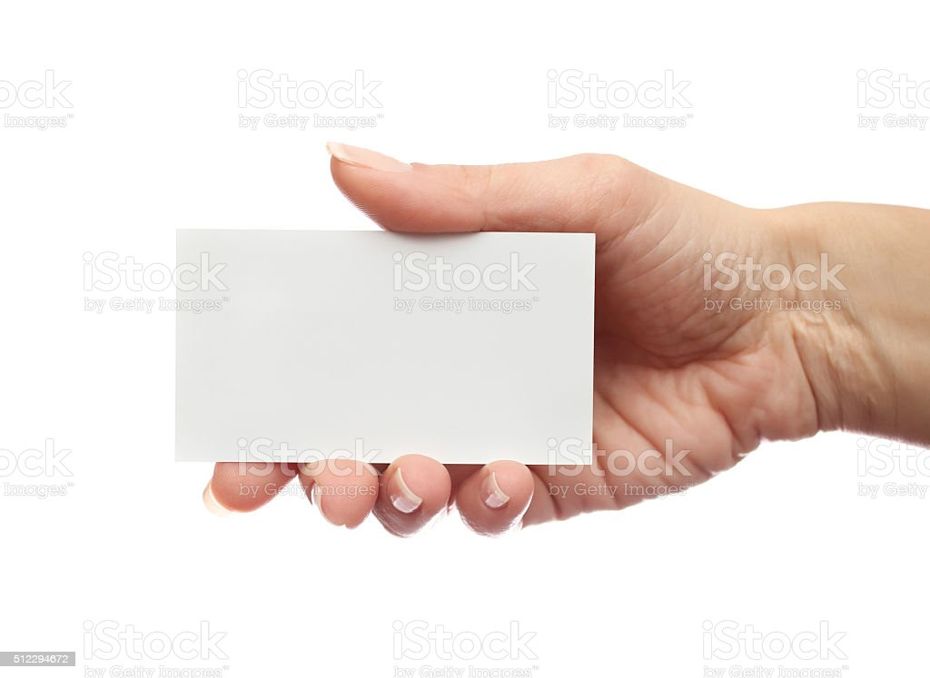 Female hand holds business card on white background stock photo