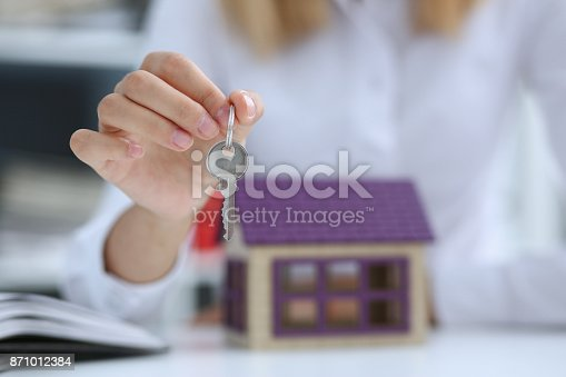 istock Female hand holds the key to the lock in the hand 871012384