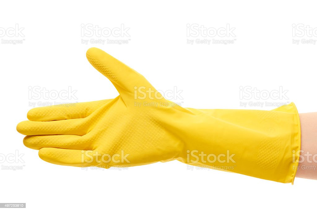 Female hand in yellow protective rubber glove giving for handshake stock photo