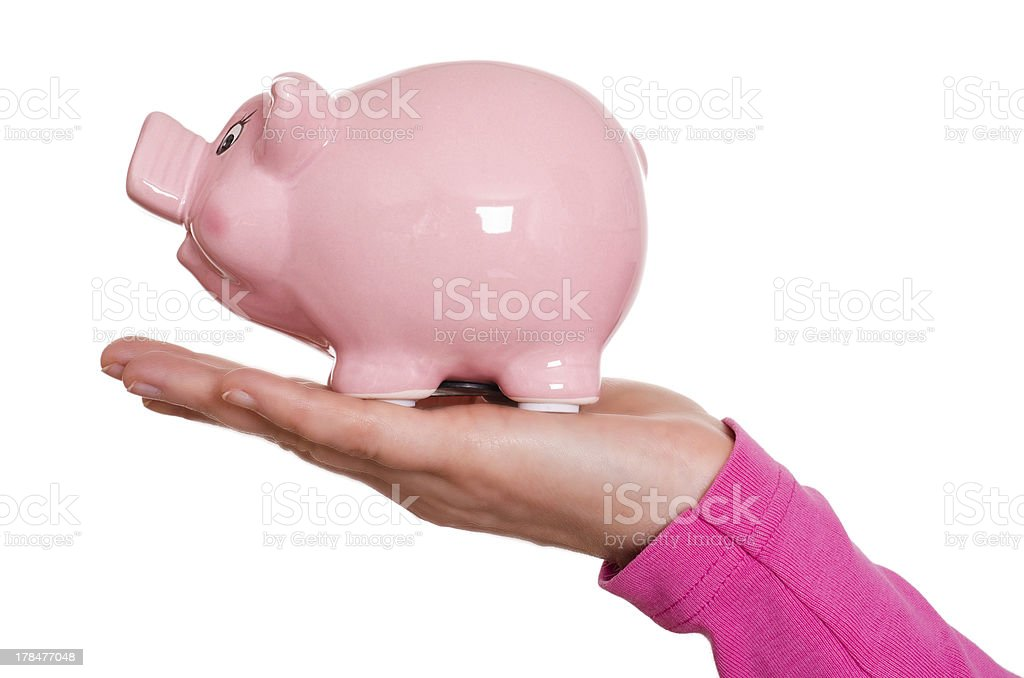 Female hand is holding a piggy bank royalty-free stock photo