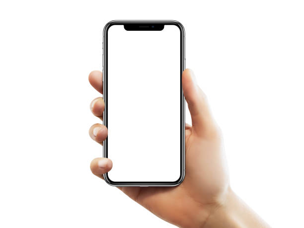 female hand is holding an empty iphone x screen - number 10 stock photos and pictures