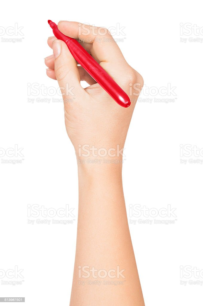 Female hand is ready for drawing stock photo