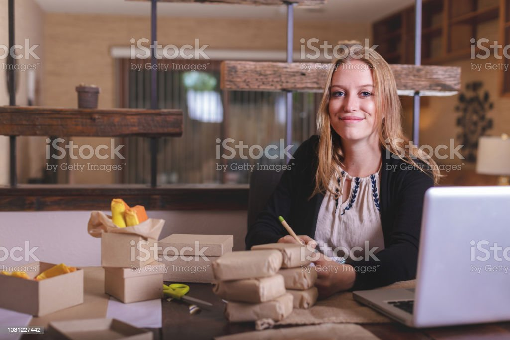 Female Hand Made Soap Small Business Owner in Western Colorado - CC Business Owners stock photo