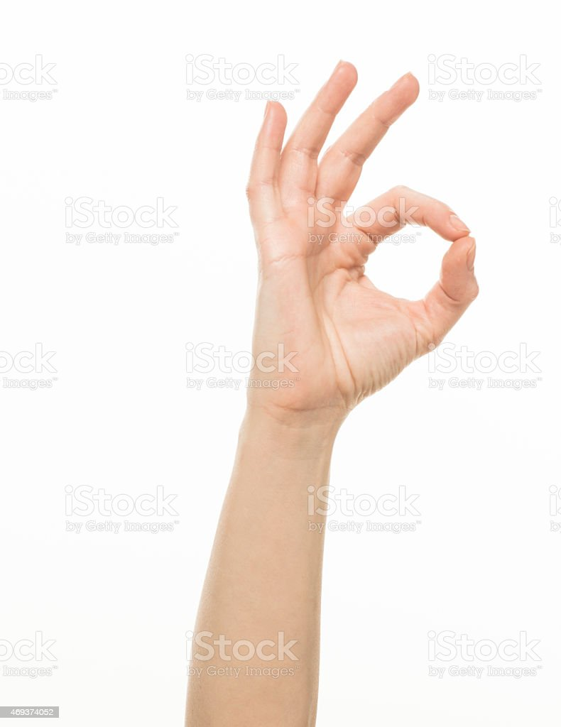 Female hand, OK gesture stock photo