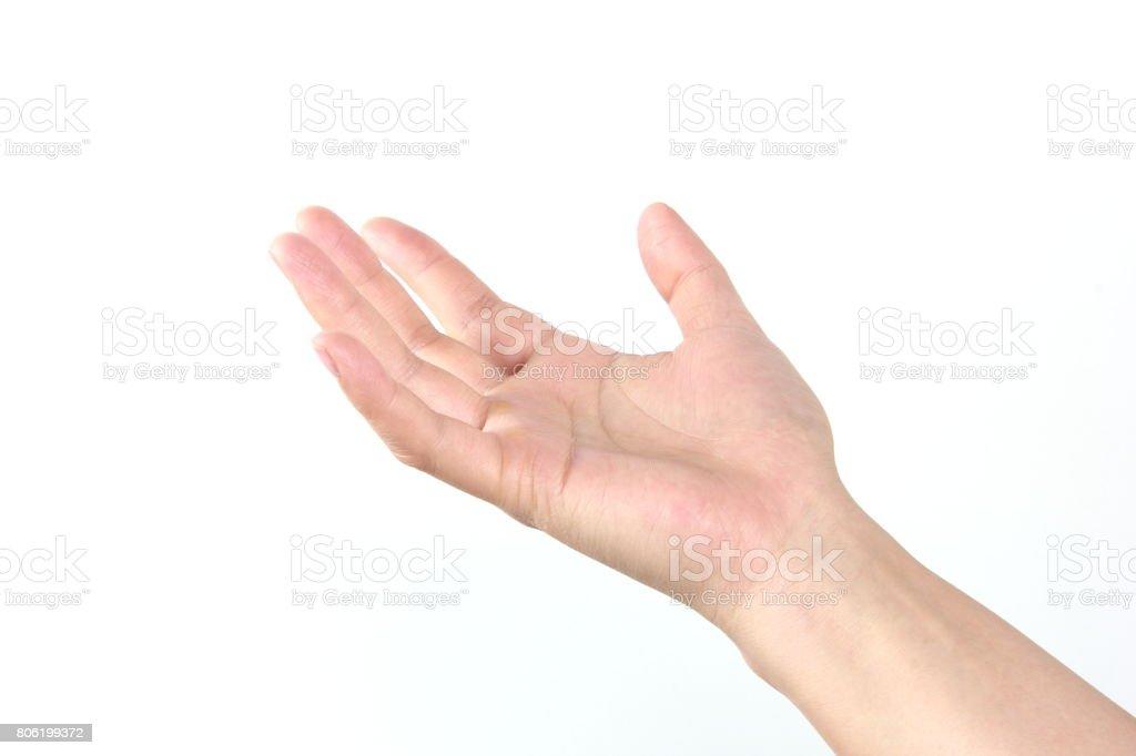 Female hand on white background stock photo
