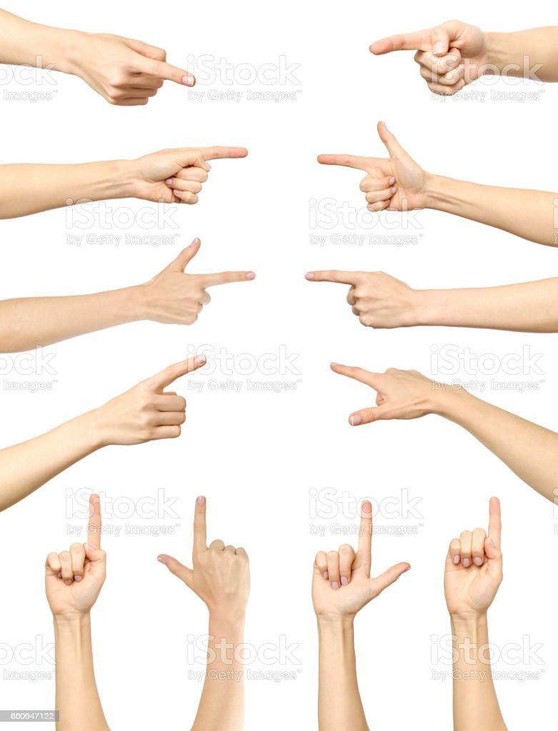 Weibliche Hand Zeigen Isoliert Auf Weißem Hintergrund Sammlung ...