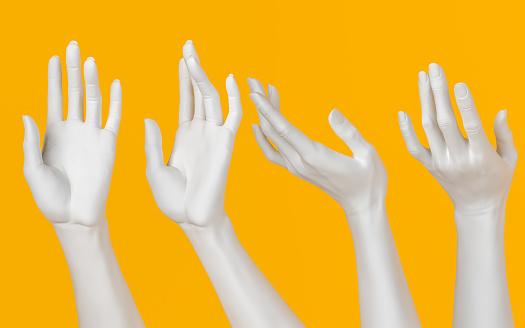 Female hand sculpture set, white open palm elegant gesture, art beauty concept, 3d rendering,