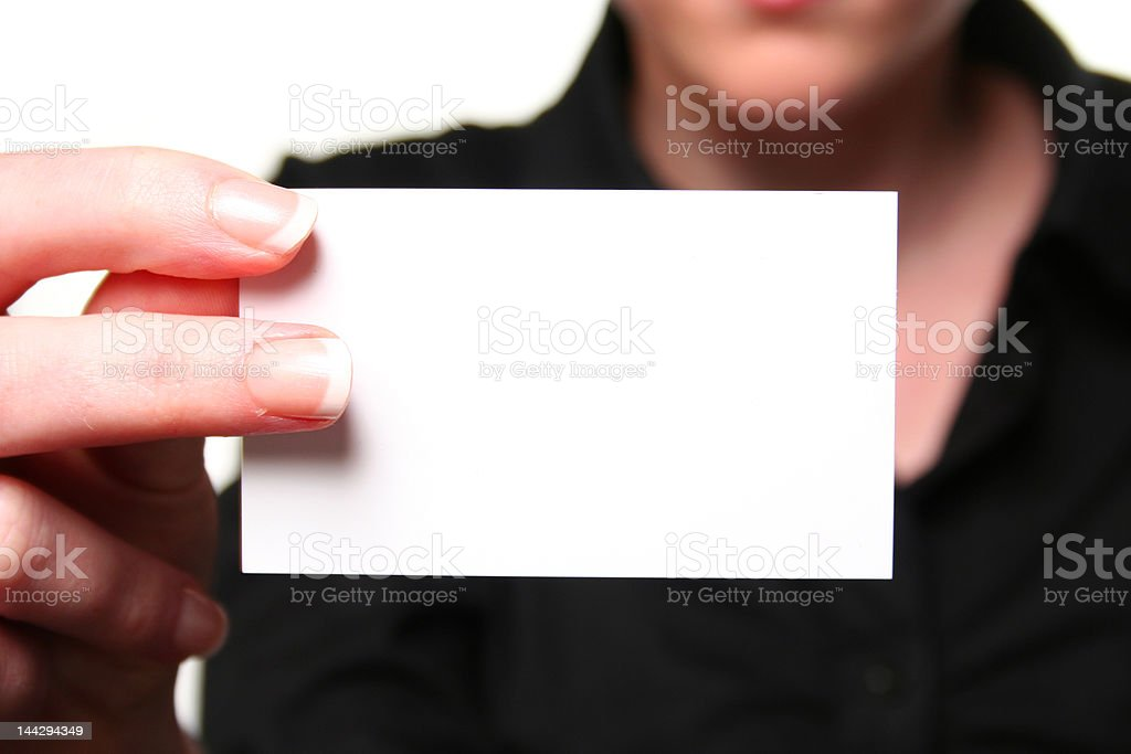 Female hand showing businesscard stock photo