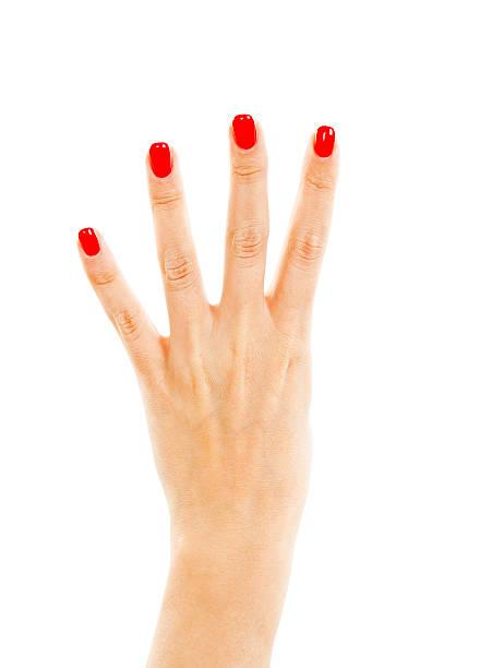 weibliche hand mit vier finger - bester nagellack stock-fotos und bilder