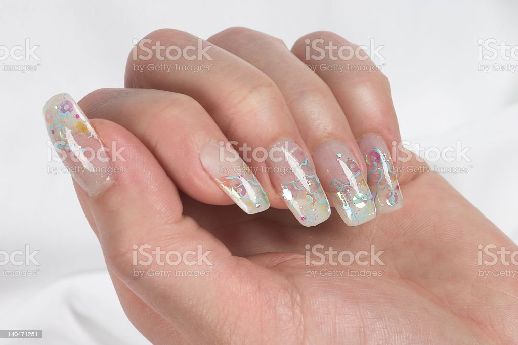 Female Hand Showing Off Long Nails And Nail Art Stock Photo & More ...