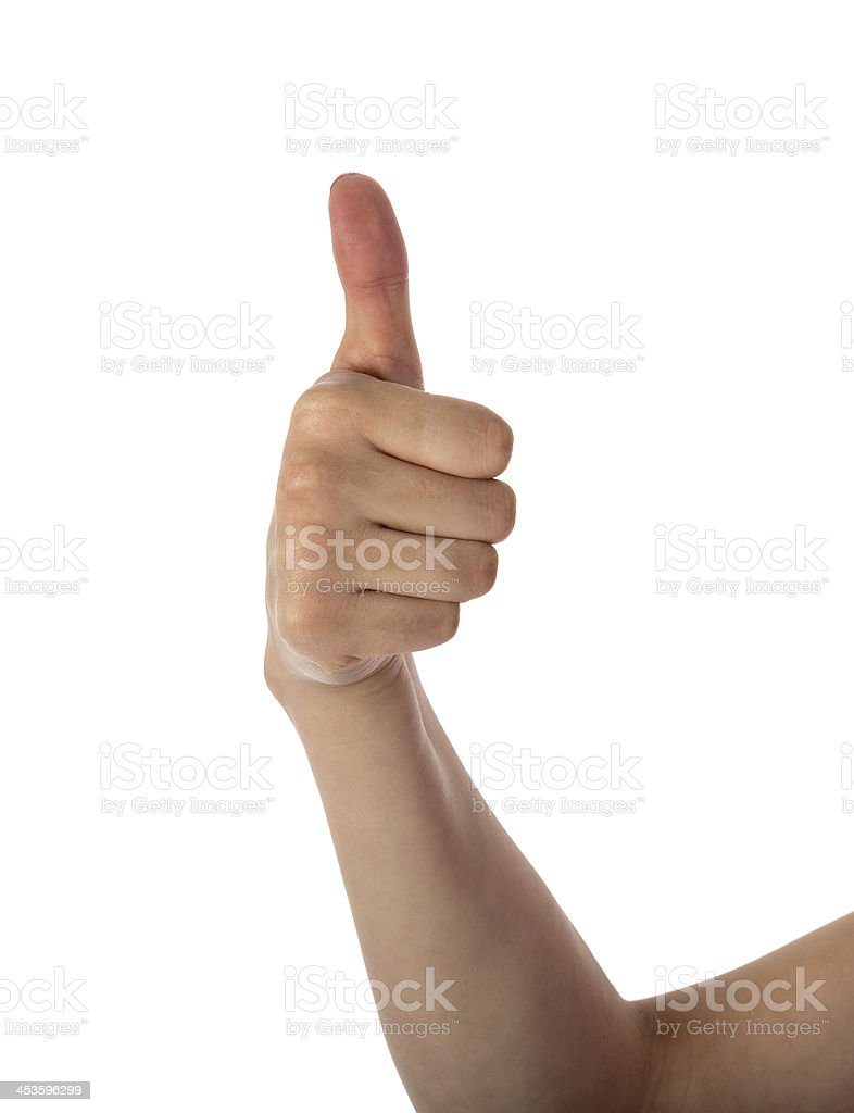 Female hand showing thumb up isolated over white royalty-free stock photo