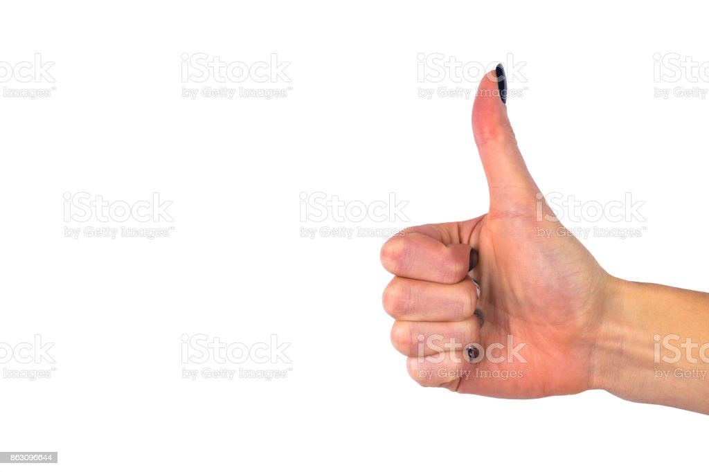 Female hand showing thumb up ok all right victory hand sign gesture. Gestures and signs. Body language isolated on white background stock photo