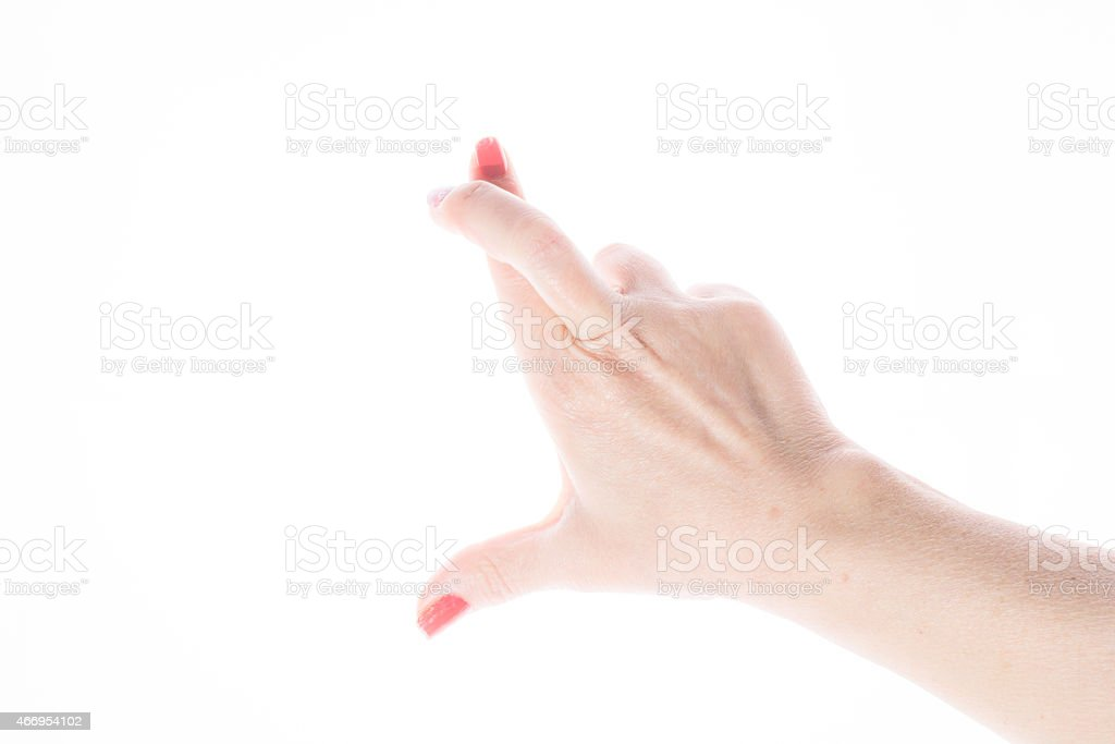 Female Hand Shows Good Luck Sign On A White Background Stock