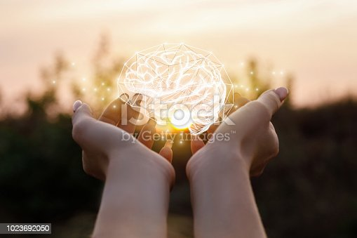 istock Female hand shows the brain . 1023692050