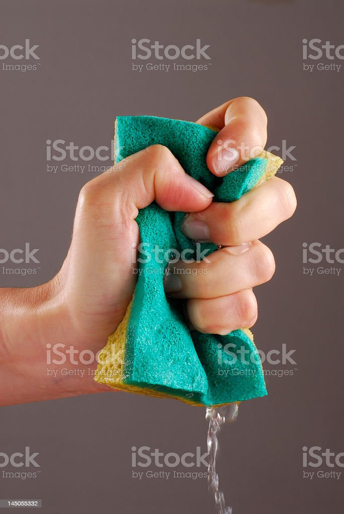 Female hand squeezing a green cleaning sponge from water stock photo