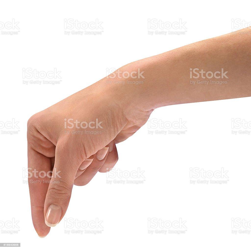 Female hand takes stock photo