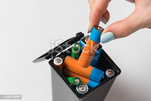 istock Female hand throws the used battery in the trash. Collection and recycling concept used batteries. 1223518267