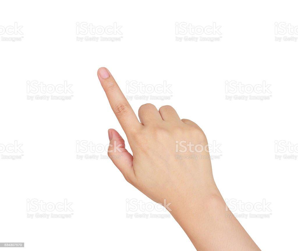 Femme main toucher, pointant à quelque chose photo libre de droits