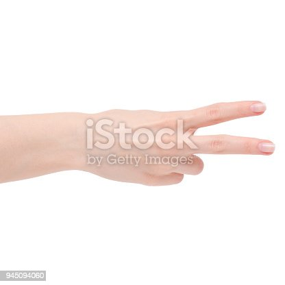 istock Female hand two finfers 945094060