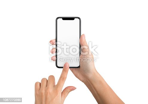 istock Female hand using blank touchscreen of smartphone 1087270390