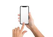 Female hand using blank touchscreen of frameless smartphone, isolated on white background, mockup
