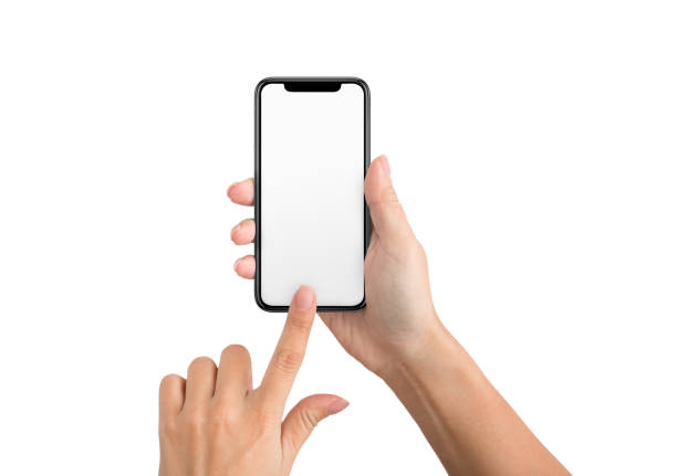 female hand using blank touchscreen of smartphone - phone hand стоковые фото и изображения