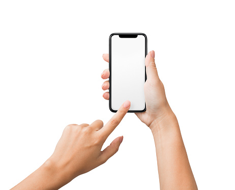 1084491176 istock photo Female hand using blank touchscreen of smartphone 1087552258