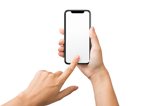 1084491176 istock photo Female hand using blank touchscreen of smartphone 1087557000