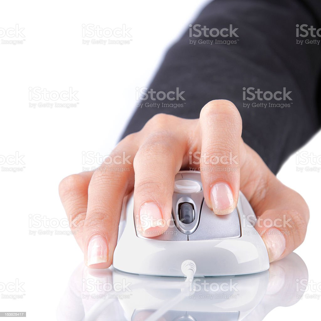 female hand using mouse stock photo